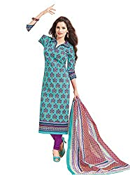 Taos Brand cotton dress materials for women womens dress materials cotton salwar suit New Arrival latest 2016 womens party wear Unstitched dress materials for women (1415 summer__multicolor and blue_freesize