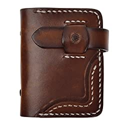 ZLYC Handmade Vegetable Tanned Leather Credit Business Card Holder Wallet Case, Brown