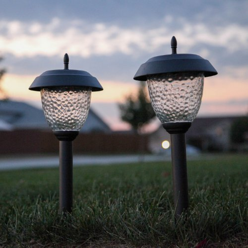 of 8 glass high output led solar path lights in bronze or gunmetal. Black Bedroom Furniture Sets. Home Design Ideas