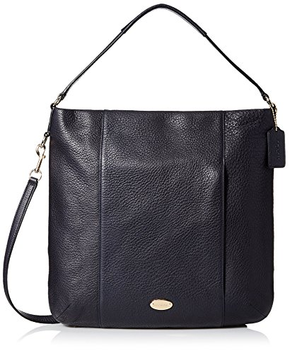 Coach Women's Pebbled Leather Black Shoulder Bag, Midnight Blue, One Size (Coach Purse Blue compare prices)