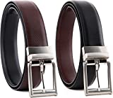 #2: HT Collections Men's Black and Brown Reversible Two in One Leather Belt (HTCB_Cronas)
