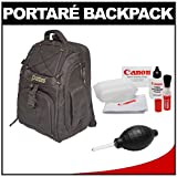 Portare' Multi-Use Laptop/iPad/Digital SLR Camera Backpack Case (Black) + Cleaning Kit for Canon EOS 7D, 5D Mark II III, 60D, Rebel T3, T3i, T2i Digital SLR Cameras