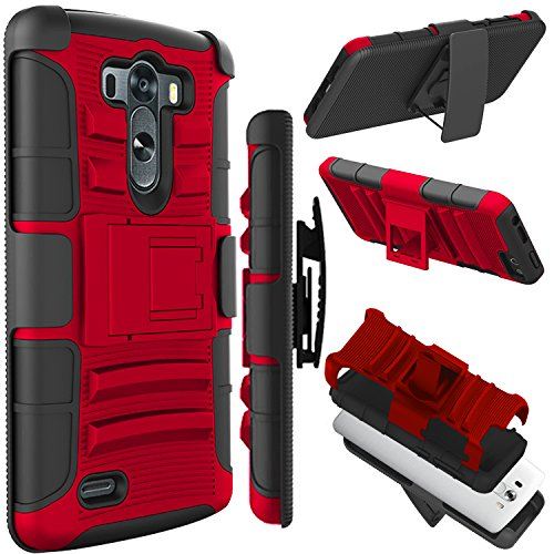 LG G3 Case(5.5 inch), Zenic(TM) Hybrid Dual Layer Armor Defender Full-body Protective Case Cover with Kickstand & Belt Clip Holster Combo for LG G3 (Red/Black) (Lg G3 Phone Case With Kickstand compare prices)