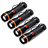 Briignite LED Flashlight, Portable Ultra Bright Handheld Mini Flashlight with Adjustable Focus, Zoomable Tactical Flashlight Battery Powered for Home Outdoor Lighting, Camping, Emergency, 4 Pack (Color: Black, Tamaño: Small)