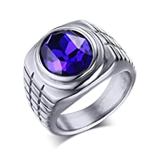 buy Stainless Steel Fashion Blue Rhinestone Crystal Ring For Men And Women,Silver,Size 12