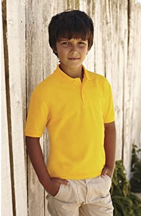 Fruit of the Loom Children's 65/35 Pique Polo Shirt 7-8 Red