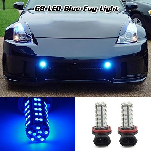Partsam 2x H8 H11 64212 Ultra Blue Off-road Fog Light Driving Lamp Light Bulb 68 3528 SMD Daytime Running Light Car LED (2012 Toyota 4runner Fog Lights compare prices)