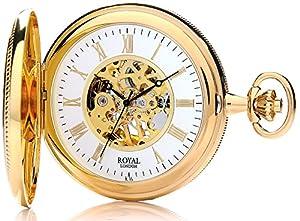 Royal London Pocket Watch 90029-02 Gold Plated Double Half Hunter