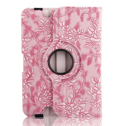"Generic New Pu Leather Luxury Stylish Slim-Fit Ultra Lightweight 360 Degrees Rotating Swivel Stand Modern Art Embossed Flower Pattern Design Series Smart Cover Case Skin Support Multi-Angle Viewing For Amazon Kindle Fire Hd 7"" Tablet (Only For 2013 Year R"