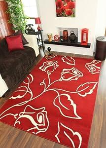 Large Red Cream Modern Stencil Flower Motif Rug Shiraz 1347-r55 by The Rug House