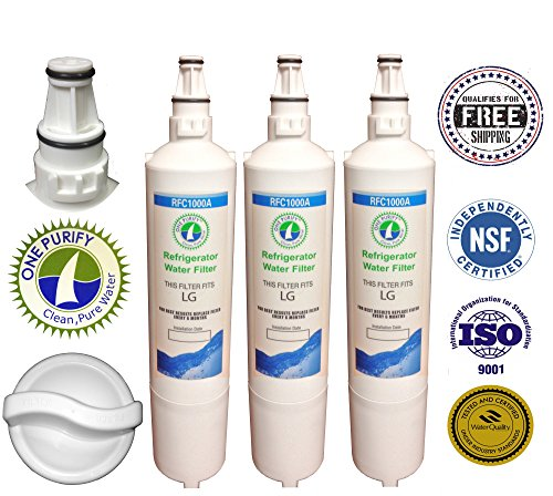 3 Pack - Onepurify Water Filter To Replace Lg, Lg Premium, Kenmore, Kenmoreclear!, Sears, Amana, 5231Ja2005A-S, 5231Ja2006, 5231Ja2006A, 5231Ja2006A-S, 5231Ja2006B, 5231Ja2006B-S, 5231Ja2006E, 5231Ja2006F, 5231Ja2006F-S, 5231Ja2006H, 5231Jj2001C, Wf300, W