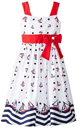 Jayne Copeland Big Girls' Sailboat Dress, White, 7