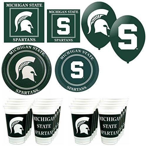 """NCAA Michigan State Spartans 16 piece """"It's A Party"""" Party Pack"""