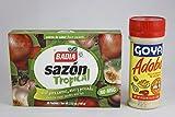 Latin Seasoning Super Bundle - 2 Items (Badia Sazon Tropical Seasoning and Goya Adobo All Purpose Seasoning with Pepper)