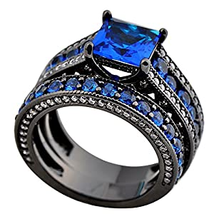 Junxin Jewelry Women Wedding Black Rings Set Cubic Sapphire Main Stone Size7 from JunXin jewelry