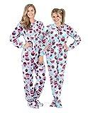 Footed Pajamas Blue Cupcakes Adult Fleece