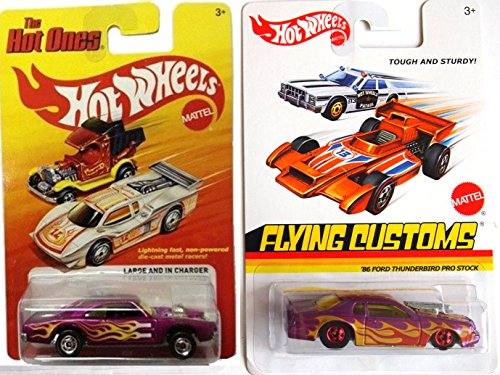 Hot Wheels Flames Hot Ones Ford Thunderbird & Charger On Fire Car Set - Flying Customs Pro Stock Purple Racers (Diecast Chevy Truck 1989 compare prices)