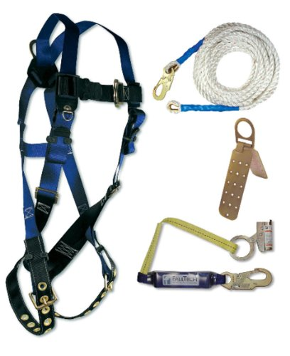 Fall Tech 8595A Contractor Harness with 4 Piece Roofer's Kit, Universal Fit (Roof Harness Kit compare prices)