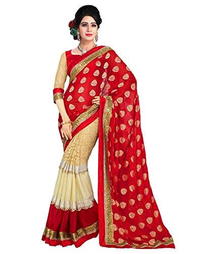 Om Shantam Sarees womens Bollywood Red Net Georgette Sari