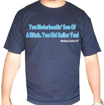 """Amazon.com: Wedding Crashers """"Motorboatin"""" Mens Funny Movie Line T Shirt: Clothing"""