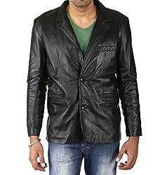 Shagoon Emporium Men's Leather Coat(sh11000_Black_Small)