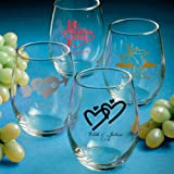 Holiday Themed Stemless Wine Glass - Personalized