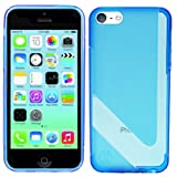 PREMIUM QUALITY BLUE V-LINE TPU SLIM FITS SILICON GEL PROTECTIVE CASE RUBBER JELLY BACK COVER FOR APPLE IPHONE 5C