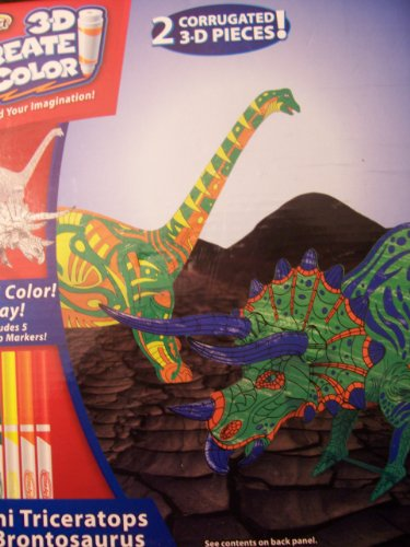 RoseArt 3D Create 'n Color ~ Mini Triceratops & Brontosaurus - 1