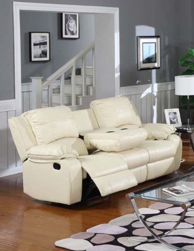 Bargain Master Beige Leather Reclining Motion Sofa W/ Drop Down Table  Specifications And Features