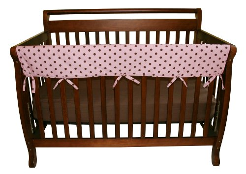 "Trend Lab Cotton CribWrap Rail Cover for Long Rail, Pink With Brown Dot, Wide for Crib Rails Measuring up to 18"" Around!"