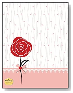 Red Rose On Pink Notebook - A single red rose and a pink trim against a simple background creates a beautiful cover for this blank and wide ruled notebook with blank pages on the left and lined pages on the right.
