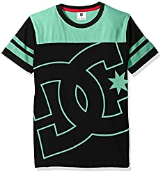 DC Apparel Big Boys Fade Out Block Short Sleeve Crew Neck Tee, Black, Large