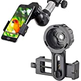 Universal Cell Phone Adapter Mount Smartphone Quick Photography Adapter Mount Compatible Binocular Monocular Spotting Scope Telescope Microscope, Record The Nature The World (Color: Black)
