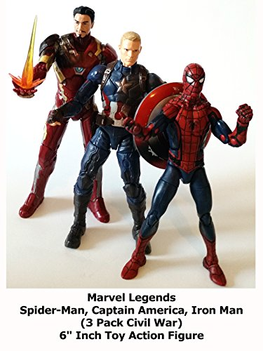 "Review: Marvel Legends Spider-Man, Captain America, Iron Man (3 Pack Civil War) 6"" Inch Toy Action Figure"