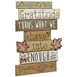 Thanksgiving Wall Sign With Inspirational Message - Gratitude Turns What We Have Into Enough - 13 3 8 Inches X 9-1 4 Inches