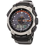 Casio Pro-Trek Men's Radio Controlled Solar Powered Triple Sensor Combi Watch PRW-5000-1ER with Resin Strapby PRO TREK