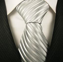 Neckties By Scott Allan - Silver Stripe Mens Tie