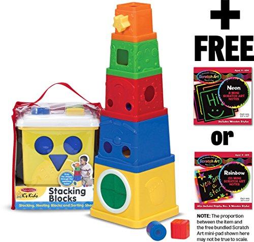 K's Kids Stacking Blocks + FREE Melissa & Doug Scratch Art Mini-Pad Bundle [91701]