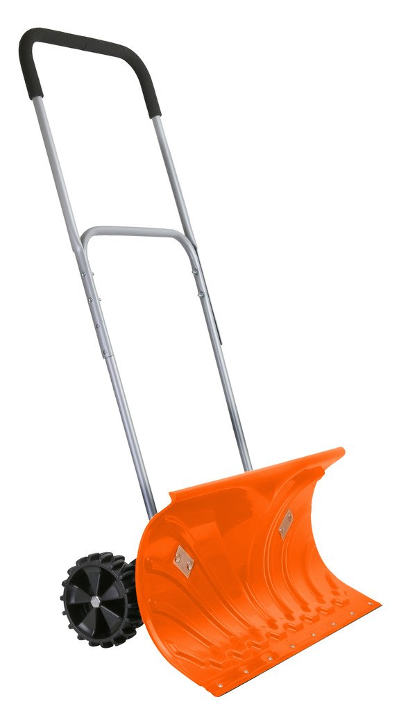 """Ivation Heavy Duty Rolling Snow Pusher / Shovel 26"""" Wide with 6"""" Pivot Wheels & Adjustable Handle, Bright Orange"""