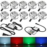 FVTLED 10pcs 0.3w Low Voltage LED Deck Lights Kit Garden Decoration Multi-color RGB Light Outdoor Recessed Wood Decking Yard Patio Stairs Landscape In-ground Lighting