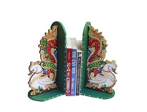 Decorative Wooden Peacock Design Ethnic Tanjore Art Painted Bookends Pair Bookend