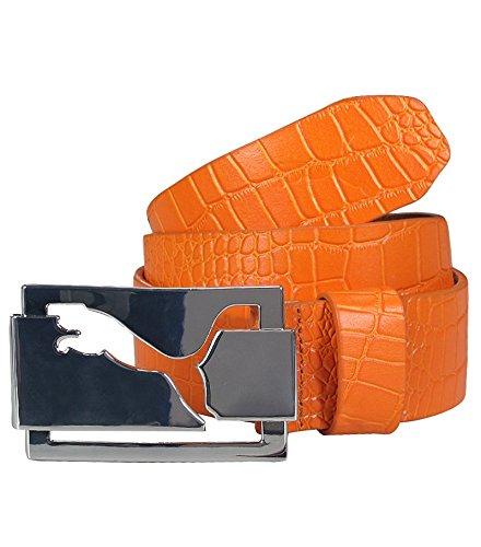 New Mens Puma High Shine Croco Belt Vibrant Orange Size X-Large
