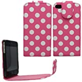 Sleek Gadgets - Pink Polka Dots Series Flip Case Cover for Apple iPhone 4, iPhone 4S, 4 S 8GB, 16GB