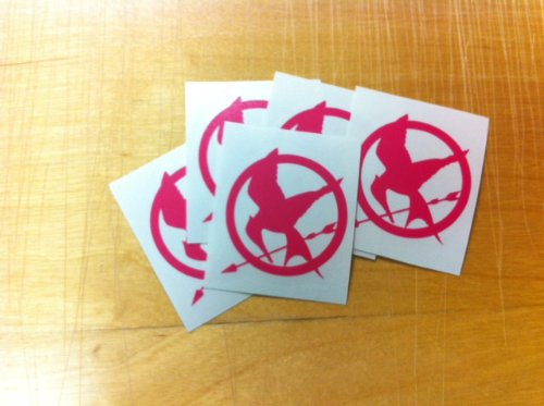 Hunger Games Mocking Jay Sticker Decal Pink (PACK OF 5 SMALL)