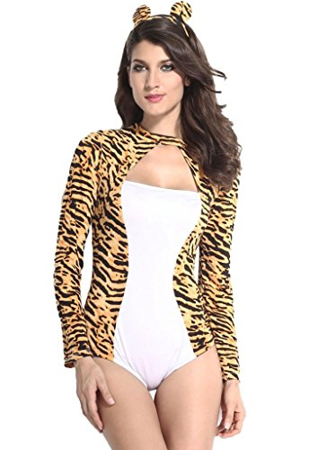 Sidefeel Women's Sultry Lady Tiger Romper Costume