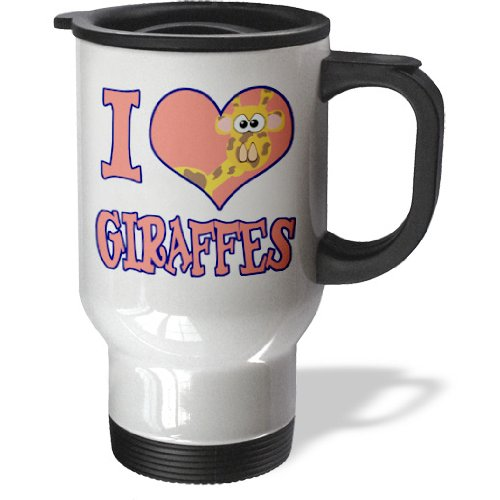 3Drose I Heart Love Giraffes Cartoon Travel Mug, 14-Ounce