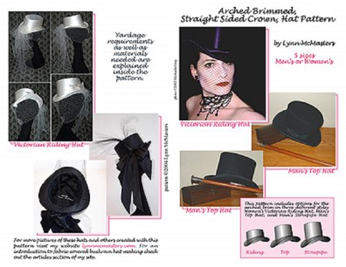 Men'S And Women'S Top Hat; Victorian Riding Hat, Men'S Top Or Stovepipe Hat Pattern front-38776