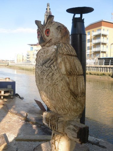 CARVED WOODEN OWL- 70 CM TALL FROM BASE (Approx)- GARDEN FEATURE