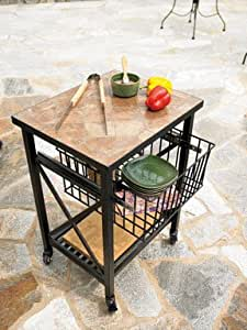 "Living Accents Slate Patio Server Cart with Basket 22.63""x18.50""x31.49"""