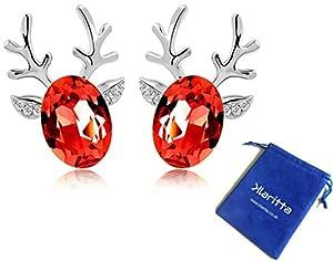 Luxury Deer Design Silver & Red Stud Earrings Great as Christmas Gift E486